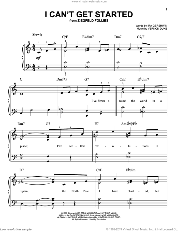I Can't Get Started With You sheet music for piano solo by Frank Sinatra, Rosemary Clooney, Ira Gershwin and Vernon Duke, easy skill level