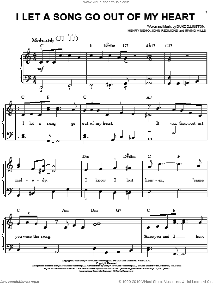 I Let A Song Go Out Of My Heart sheet music for piano solo by Duke Ellington, Henry Nemo, Irving Mills and John Redmond, easy skill level