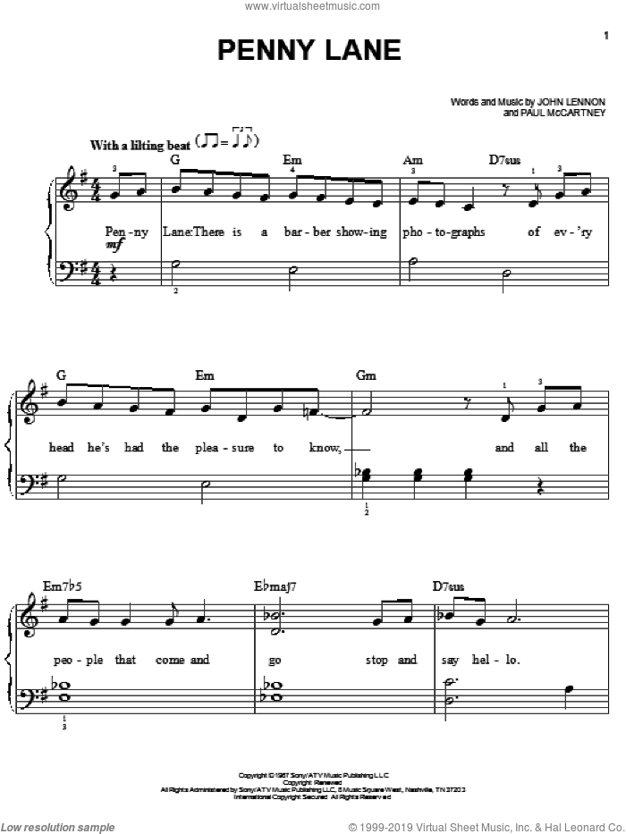 Penny Lane, (easy) sheet music for piano solo by The Beatles, John Lennon and Paul McCartney, easy skill level
