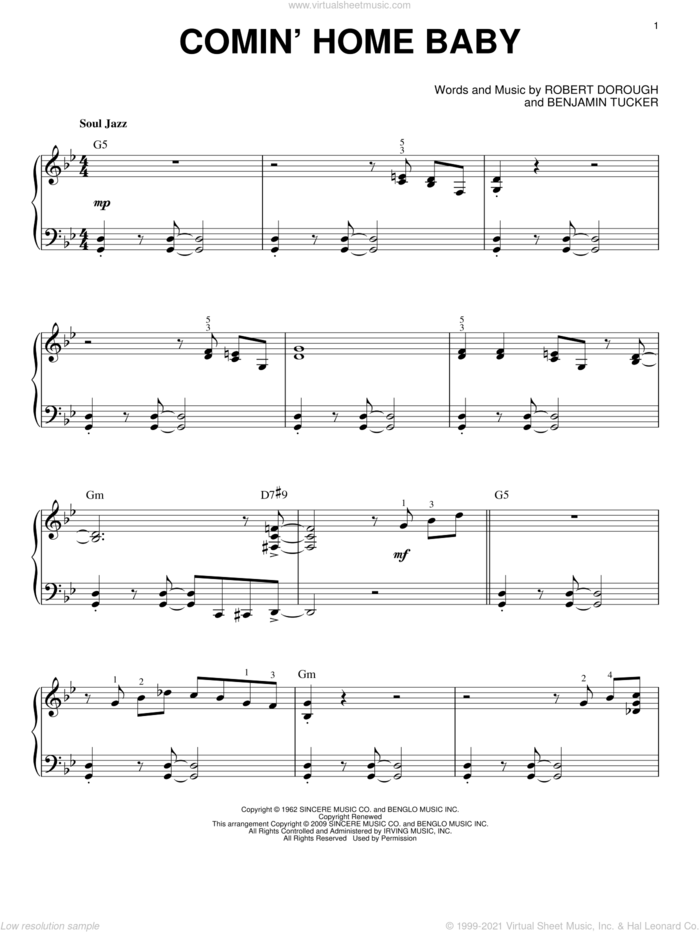 Comin' Home Baby (arr. Brent Edstrom) sheet music for piano solo by Herbie Mann, Eddie 'Lockjaw' Davis, Mel Torme, Benjamin Tucker and Bob Dorough, intermediate skill level