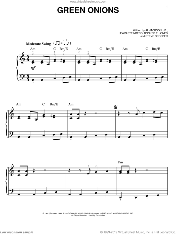 Green Onions, (easy) sheet music for piano solo by Booker T. & The MG's, Al Jackson Jr., Booker T. Jones and Lewis Steinberg, easy skill level