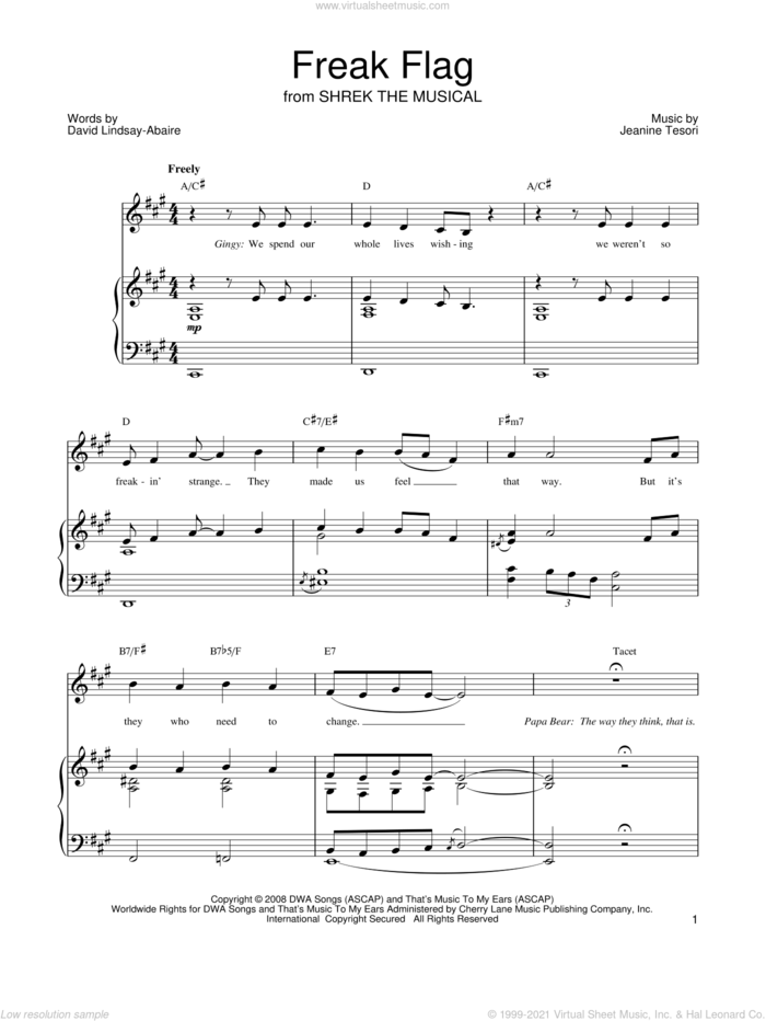 Freak Flag sheet music for voice, piano or guitar by Shrek The Musical, David Lindsay-Abaire and Jeanine Tesori, intermediate skill level