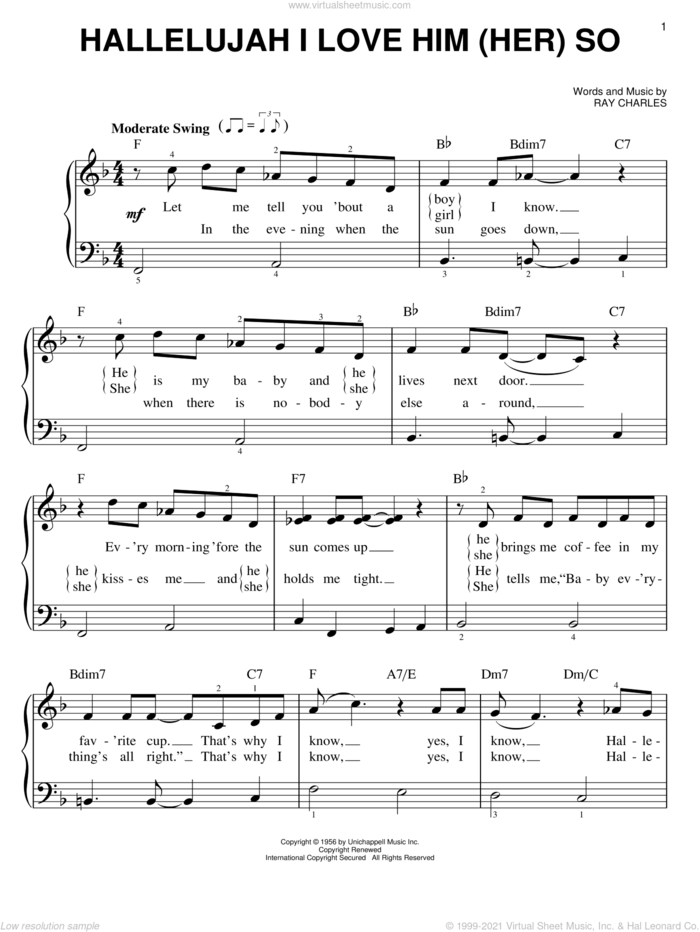 Hallelujah I Love Him (Her) So sheet music for piano solo by Ray Charles, Peggy Lee and Ray (Movie), easy skill level