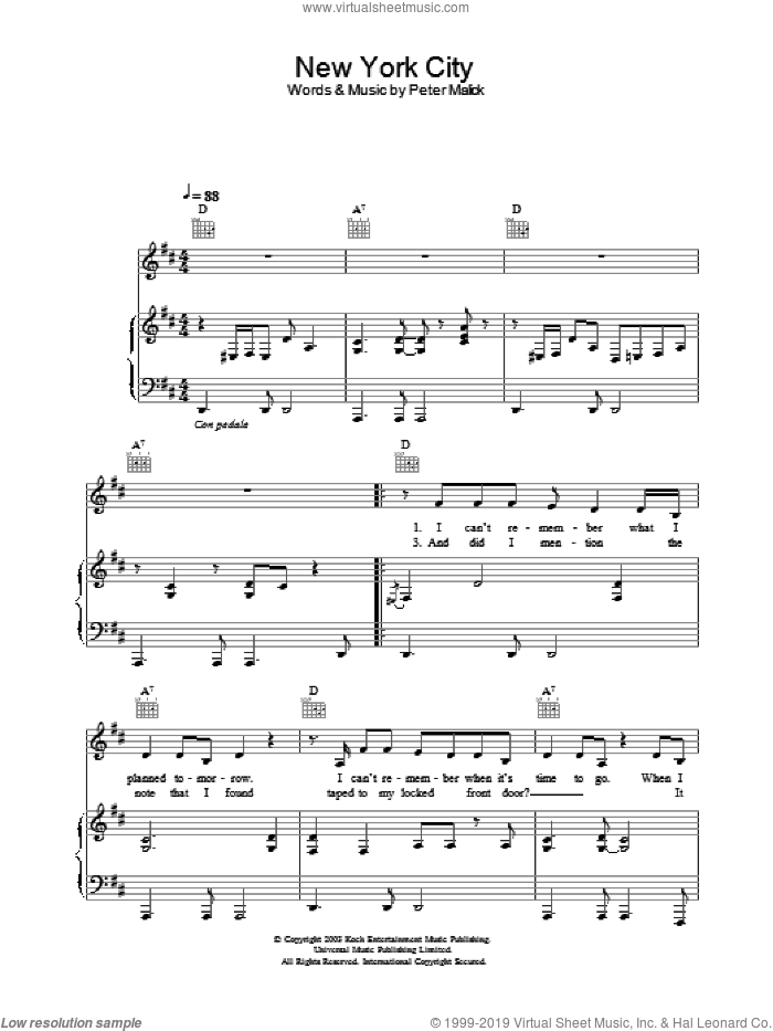 New York City sheet music for voice, piano or guitar by Peter Malick and Norah Jones, intermediate skill level