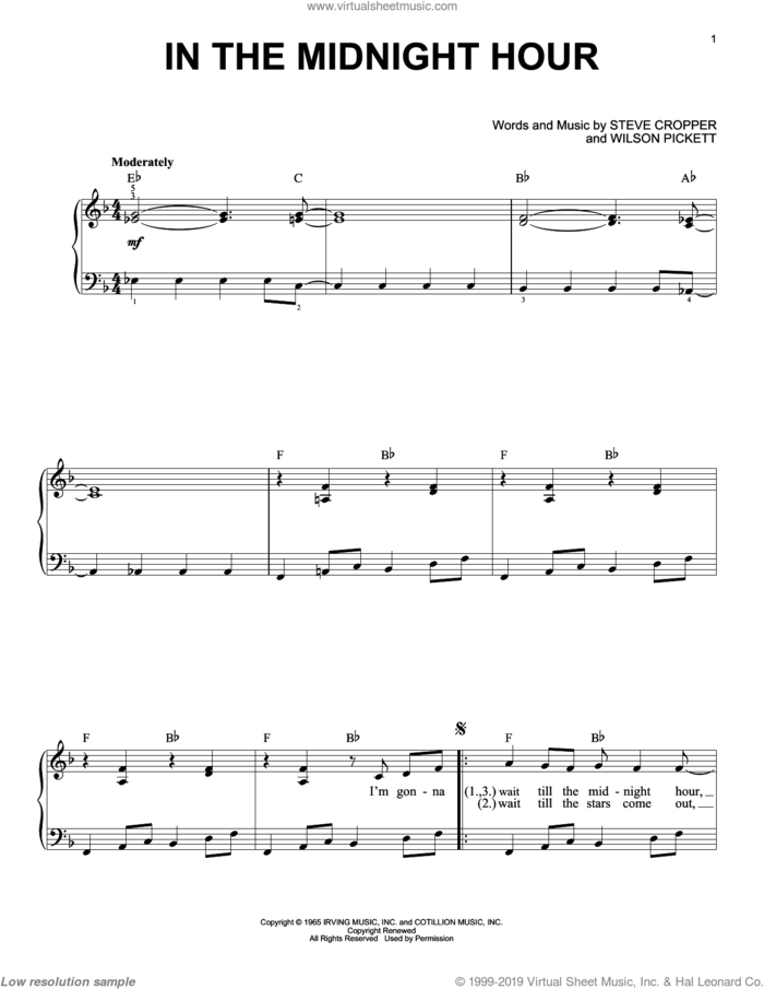 In The Midnight Hour sheet music for piano solo by Wilson Pickett and Steve Cropper, beginner skill level