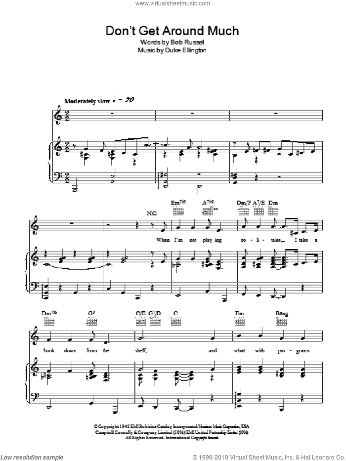 Don't Get Around Much Anymore sheet music for voice, piano or guitar by Duke Ellington and Bob Russell, intermediate skill level