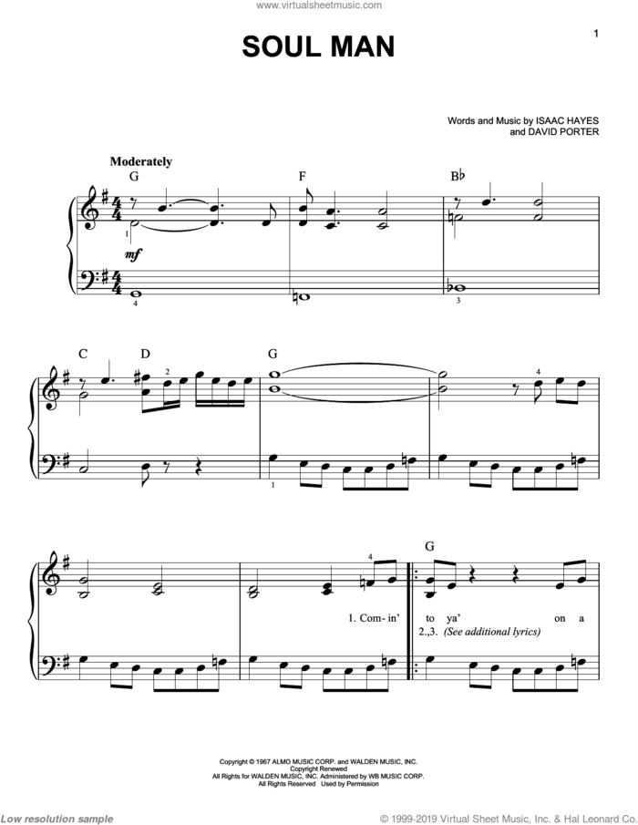 Soul Man sheet music for piano solo by Sam & Dave, Blues Brothers, David Porter and Isaac Hayes, easy skill level