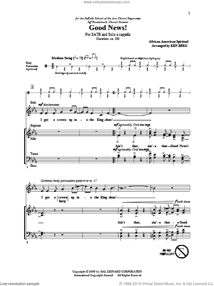 Good News! sheet music for choir (SATB: soprano, alto, tenor, bass) by Ken Berg and Miscellaneous, intermediate skill level