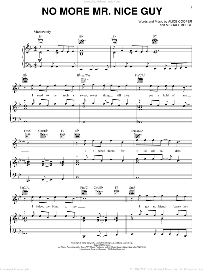 No More Mr. Nice Guy sheet music for voice, piano or guitar by Alice Cooper and Michael Bruce, intermediate skill level