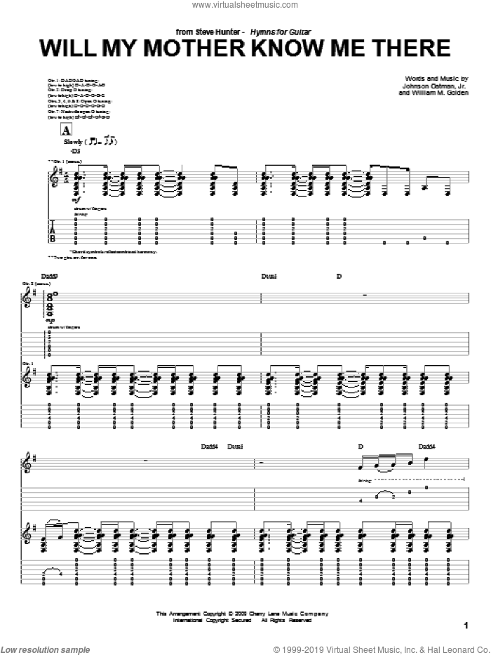 Will My Mother Know Me There sheet music for guitar (tablature) by Steve Hunter, Johnson Oatman, Jr. and William M. Golden, intermediate skill level