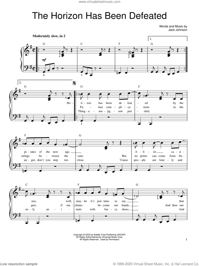The Horizon Has Been Defeated sheet music for piano solo by Jack Johnson, easy skill level