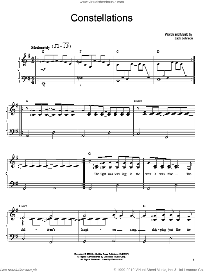 Constellations sheet music for piano solo by Jack Johnson, easy skill level
