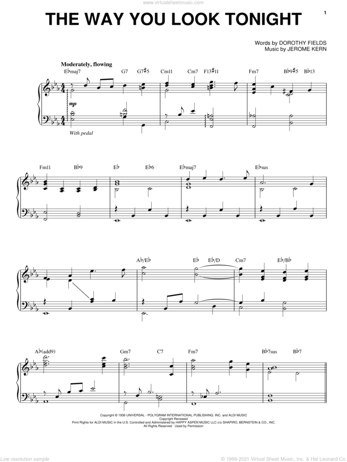 The Way You Look Tonight sheet music for voice and piano by Steve Tyrell, Dorothy Fields and Jerome Kern, wedding score, intermediate skill level