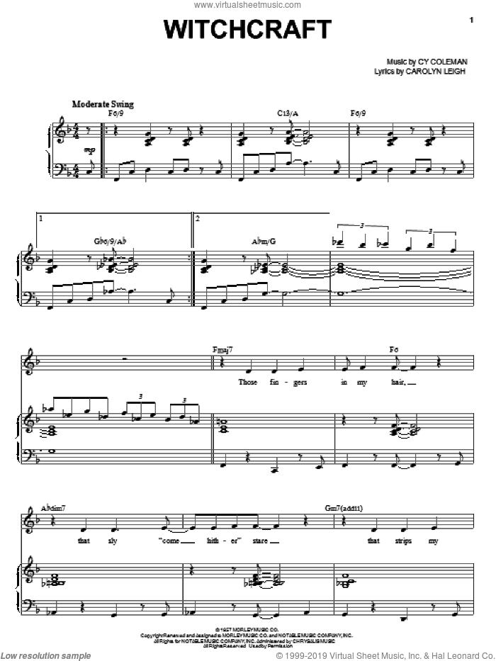 Witchcraft sheet music for voice and piano by Steve Tyrell, Carolyn Leigh and Cy Coleman, intermediate skill level