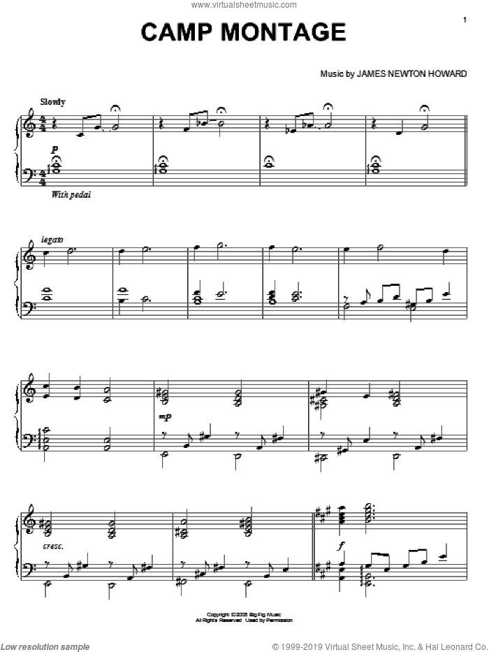 Camp Montage sheet music for piano solo by James Newton Howard and Defiance (Movie), intermediate skill level