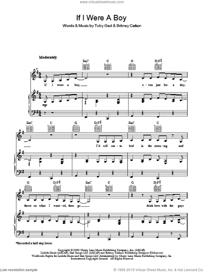 If I Were A Boy sheet music for voice, piano or guitar by Beyonce, Britney Carlson and Toby Gad, intermediate skill level