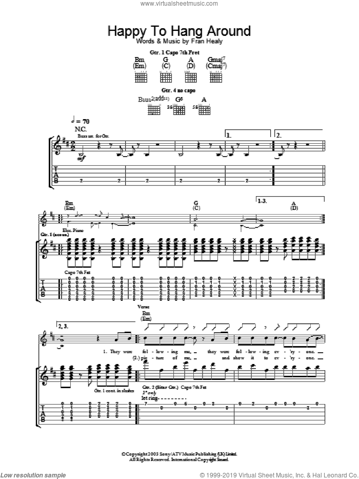 Happy To Hang Around sheet music for guitar (tablature) by Merle Travis, intermediate skill level