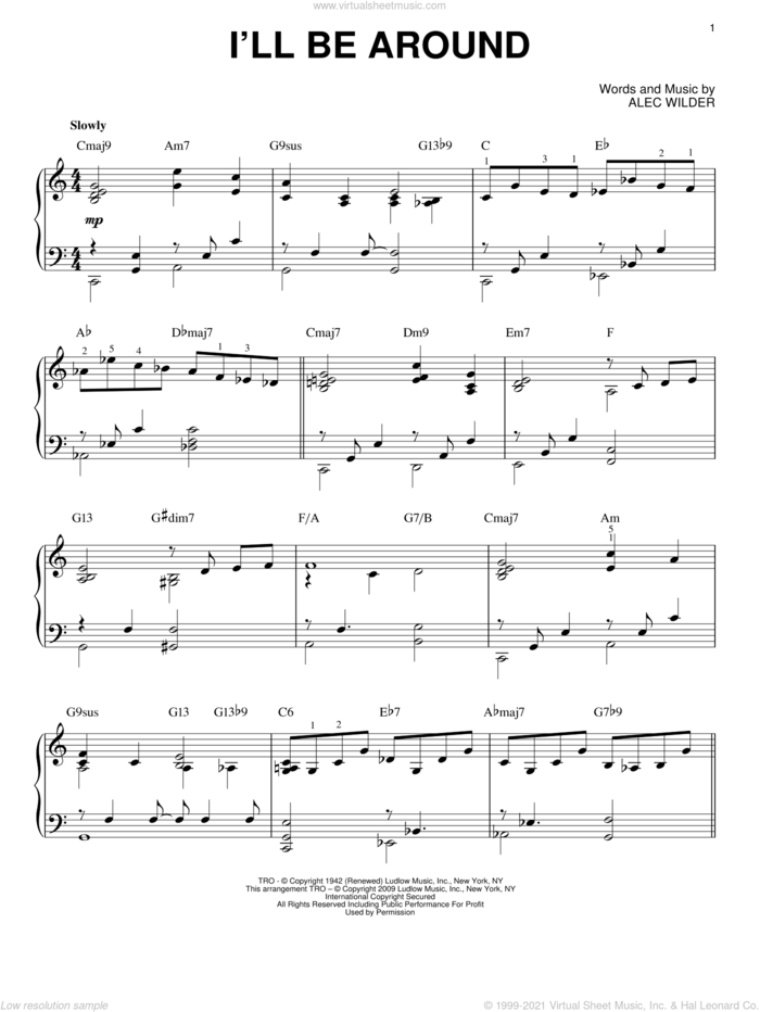 I'll Be Around [Jazz version] (arr. Brent Edstrom) sheet music for piano solo by Alec Wilder, intermediate skill level