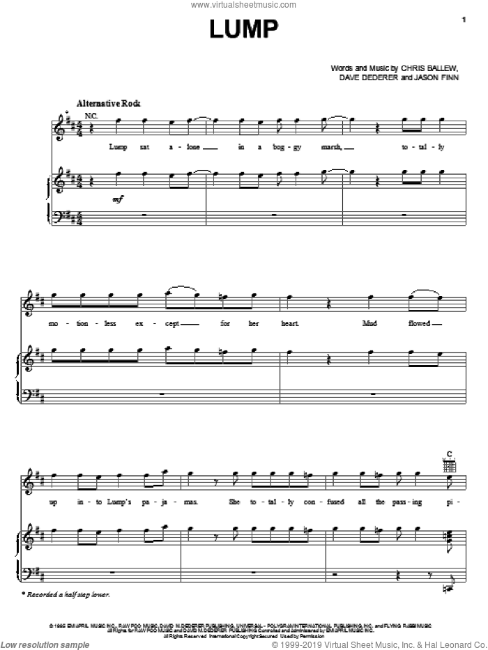Lump sheet music for voice, piano or guitar by Presidents Of The United States Of America, Chris Ballew, Dave Dederer and Jason Finn, intermediate skill level