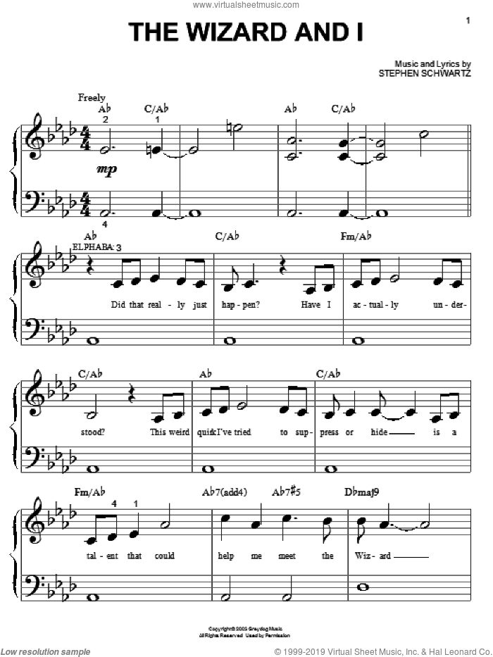 The Wizard And I (from Wicked) sheet music for piano solo (big note book) by Stephen Schwartz and Wicked (Musical), easy piano (big note book)