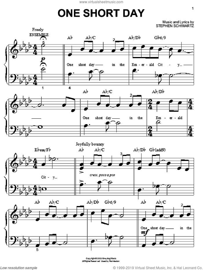 One Short Day (from Wicked) sheet music for piano solo (big note book) by Stephen Schwartz and Wicked (Musical), easy piano (big note book)