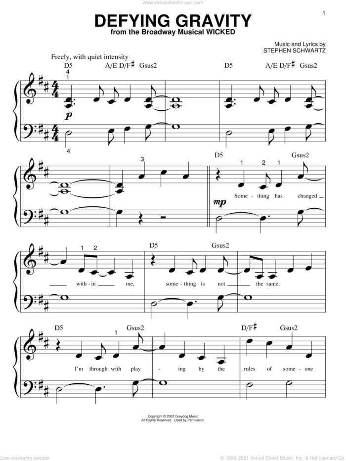 Defying Gravity (from Wicked) sheet music for piano solo (big note book) by Stephen Schwartz, Miscellaneous and Wicked (Musical), easy piano (big note book)