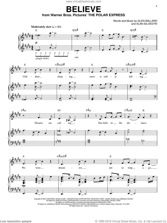 Believe (from The Polar Express) sheet music for voice and piano by Josh Groban, Alan Silvestri and Glen Ballard, intermediate skill level