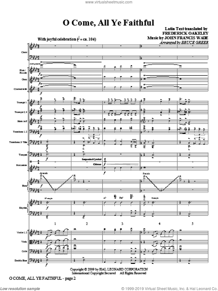 O Come, All Ye Faithful (COMPLETE) sheet music for orchestra/band (Orchestra) by John Francis Wade, Frederick Oakeley and Bruce Greer, intermediate skill level