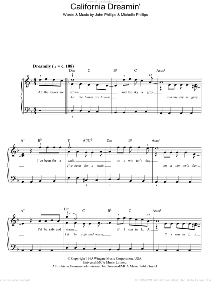 California Dreamin' sheet music for piano solo by The Mamas & The Papas, John Phillips and Michelle Phillips, easy skill level