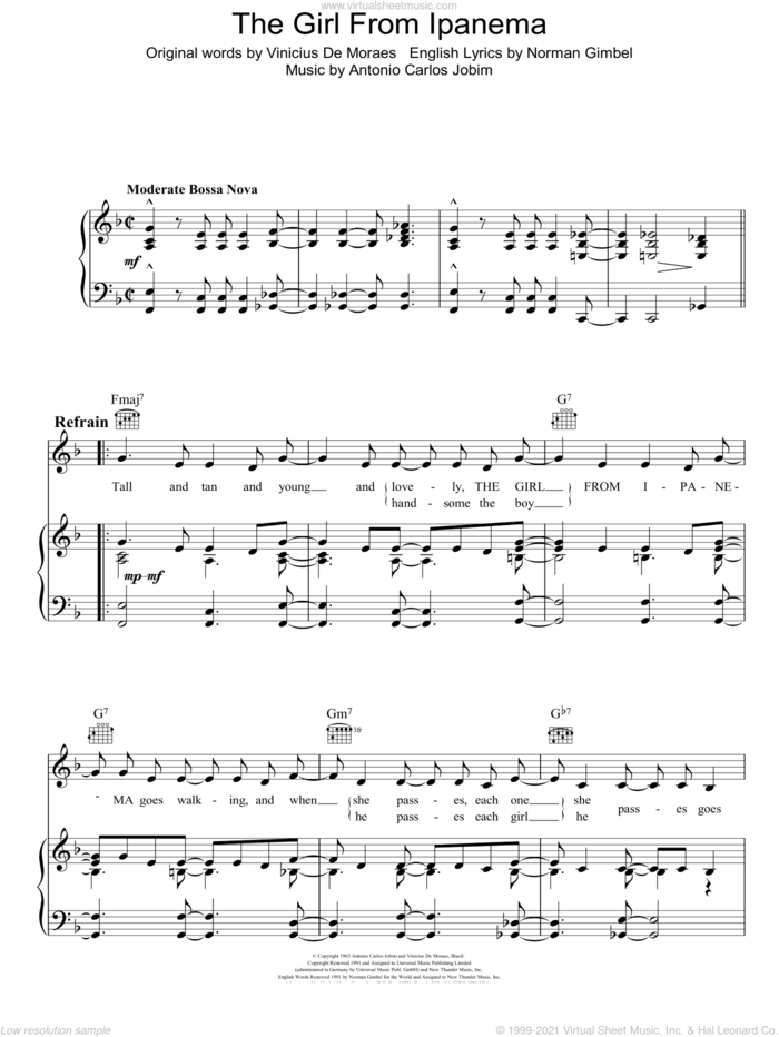 The Girl From Ipanema (Garota De Ipanema) sheet music for voice, piano or guitar by Antonio Carlos Jobim, Norman Gimbel and Vinicius de Moraes, intermediate skill level