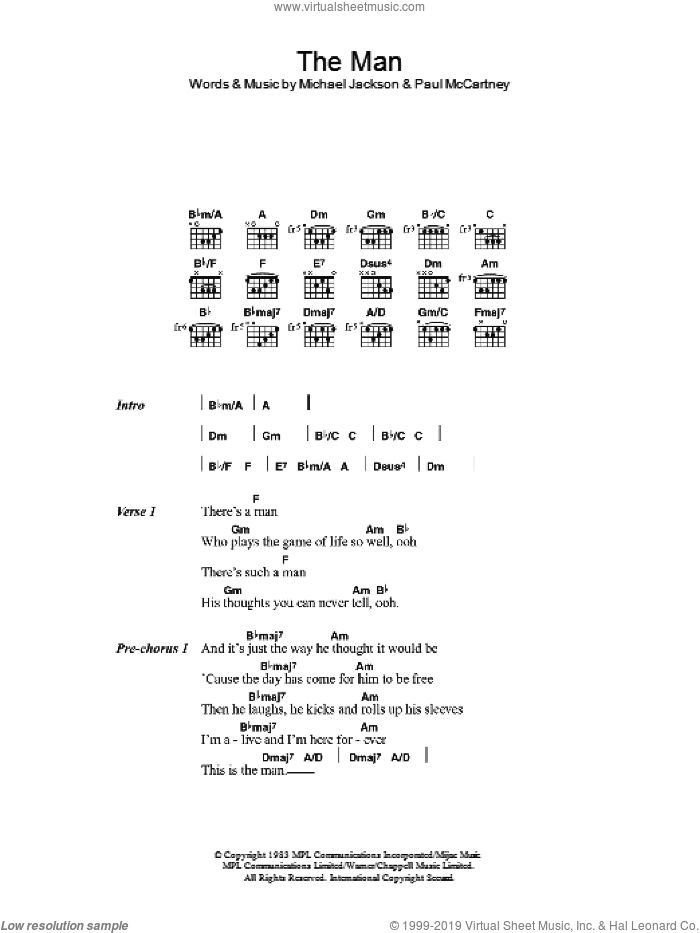 The Man sheet music for guitar (chords) by Michael Jackson and Paul McCartney, intermediate skill level