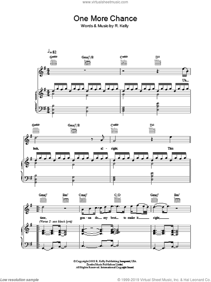 One More Chance sheet music for voice, piano or guitar by Michael Jackson and Robert Kelly, intermediate skill level