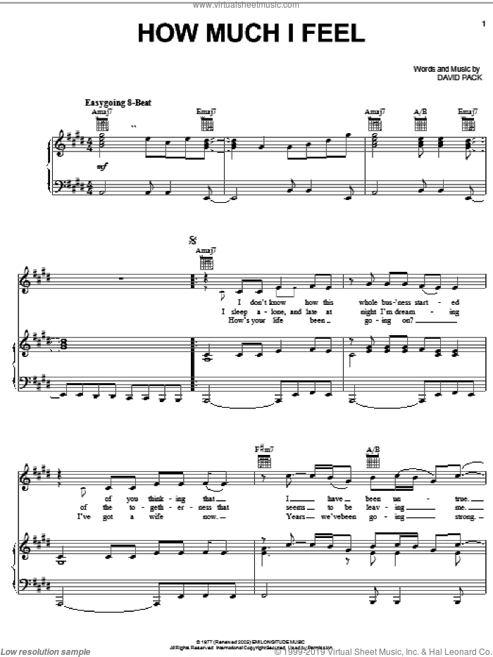 How Much I Feel sheet music for voice, piano or guitar by Ambrosia and David Pack, intermediate skill level