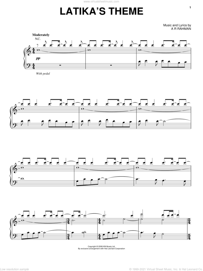 Latika's Theme sheet music for voice, piano or guitar by A.R. Rahman and Slumdog Millionaire (Movie), intermediate skill level