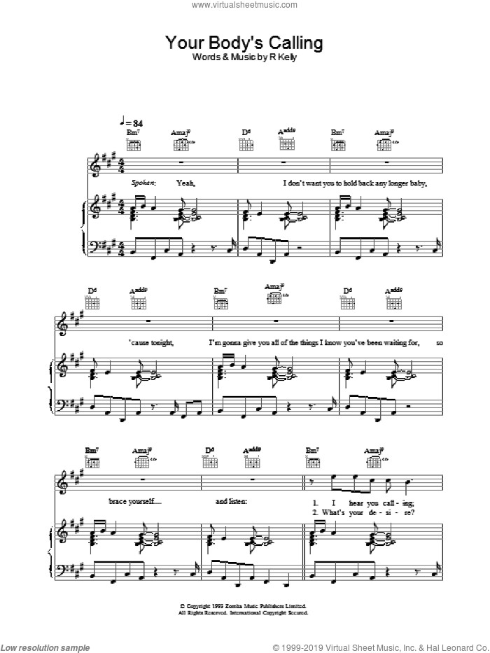 Your Body's Calling sheet music for voice, piano or guitar by Robert Kelly, intermediate skill level
