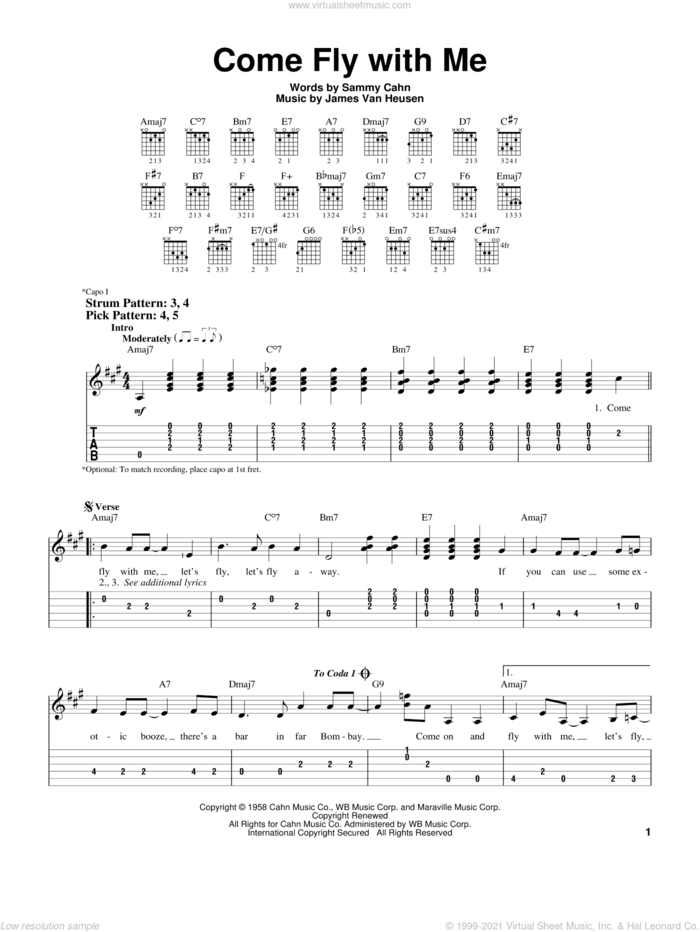 Come Fly With Me sheet music for guitar solo (easy tablature) by Frank Sinatra, Jimmy van Heusen and Sammy Cahn, easy guitar (easy tablature)