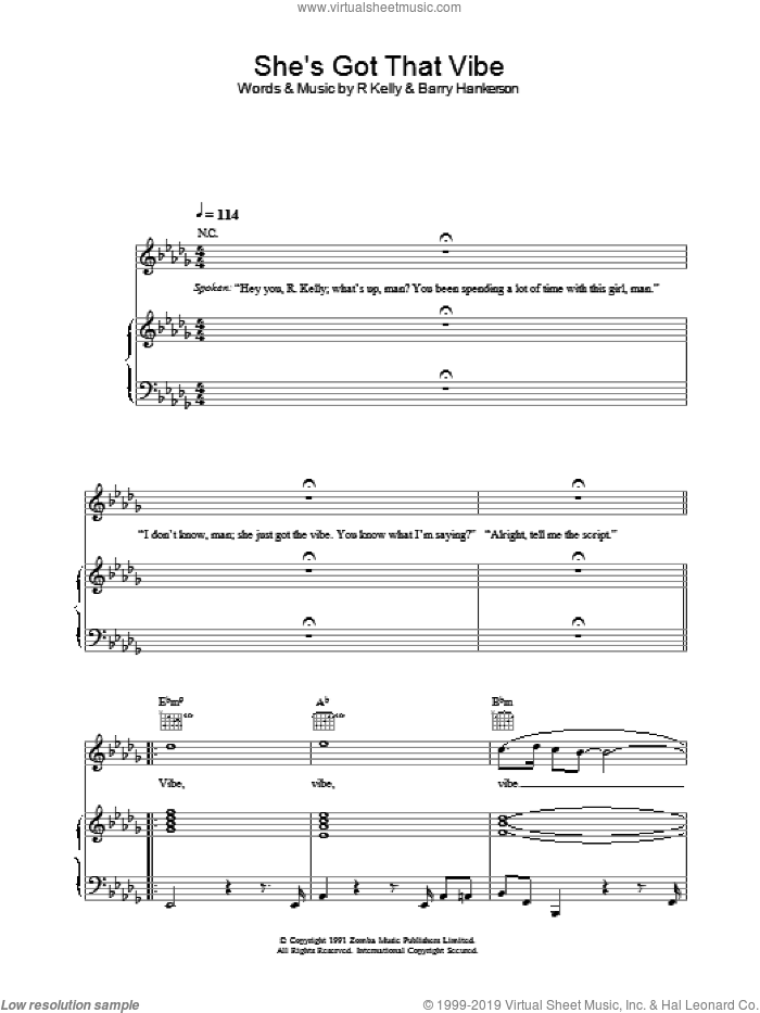 She's Got That Vibe sheet music for voice, piano or guitar by Robert Kelly, intermediate skill level