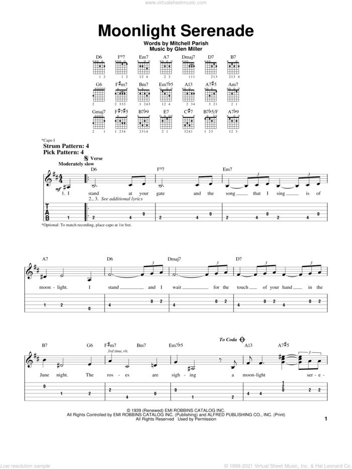 Moonlight Serenade sheet music for guitar solo (easy tablature) by Frank Sinatra, Glen Miller and Mitchell Parish, easy guitar (easy tablature)