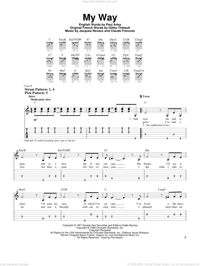 My Way sheet music for guitar solo (easy tablature) by Frank Sinatra, Elvis Presley, Claude Francois, Gilles Thibault, Jacques Revaux and Paul Anka, easy guitar (easy tablature)
