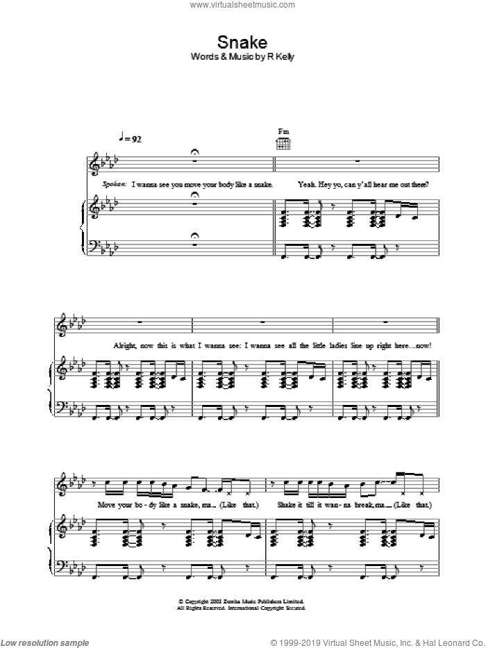 Snake sheet music for voice, piano or guitar by Robert Kelly, intermediate skill level
