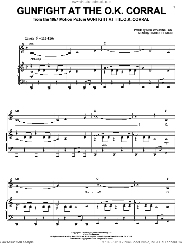 Gunfight At The O.K. Corral sheet music for voice, piano or guitar by Dimitri Tiomkin and Ned Washington, intermediate skill level