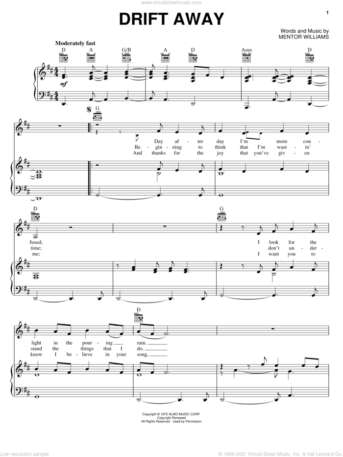 Drift Away sheet music for voice, piano or guitar by Uncle Kracker, Dobie Gray and Mentor Williams, intermediate skill level