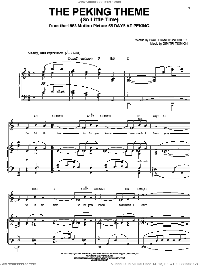 The Peking Theme (So Little Time) sheet music for voice, piano or guitar by Dimitri Tiomkin and Paul Francis Webster, intermediate skill level