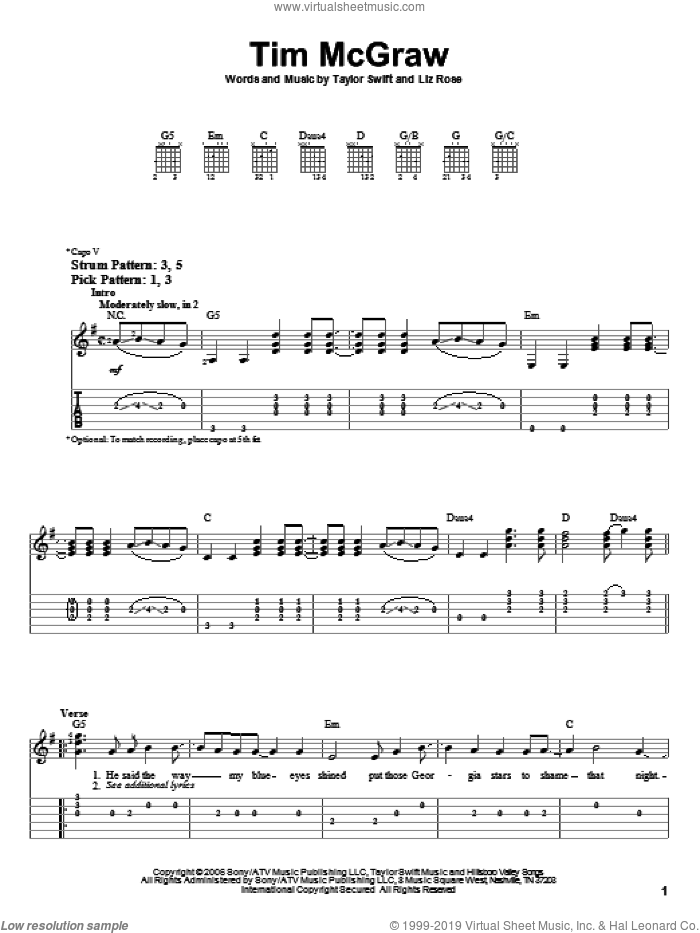 Tim McGraw sheet music for guitar solo (easy tablature) by Taylor Swift and Liz Rose, easy guitar (easy tablature)