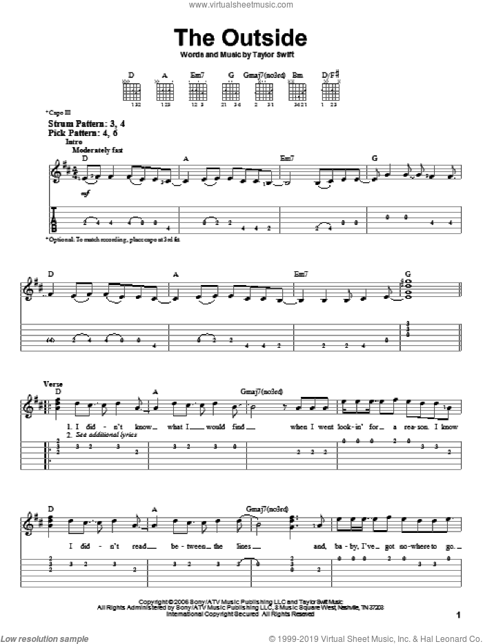 The Outside sheet music for guitar solo (easy tablature) by Taylor Swift, easy guitar (easy tablature)