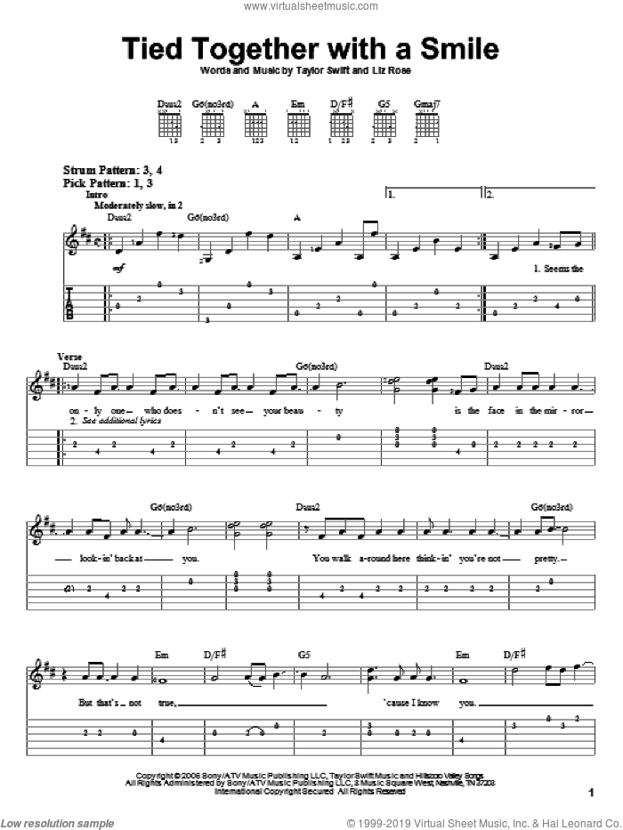Tied Together With A Smile sheet music for guitar solo (easy tablature) by Taylor Swift and Liz Rose, easy guitar (easy tablature)