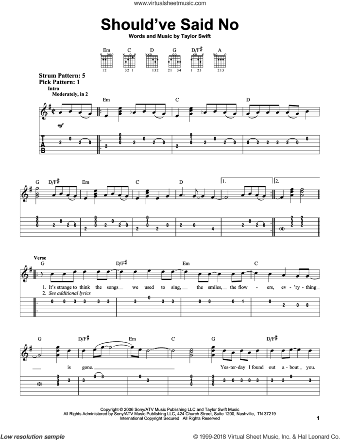 Should've Said No sheet music for guitar solo (easy tablature) by Taylor Swift, easy guitar (easy tablature)