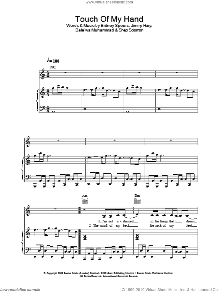 Touch Of My Hand sheet music for voice, piano or guitar by Britney Spears, intermediate skill level