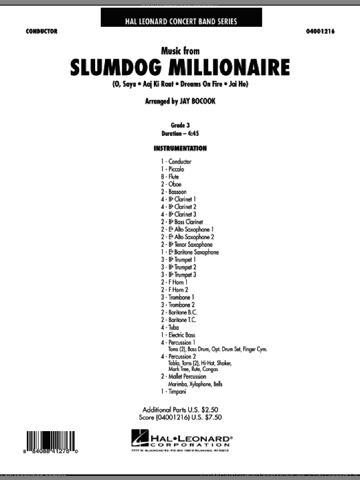 Music from Slumdog Millionaire (COMPLETE) sheet music for concert band by Jay Bocook and A.R. Rahman, intermediate skill level