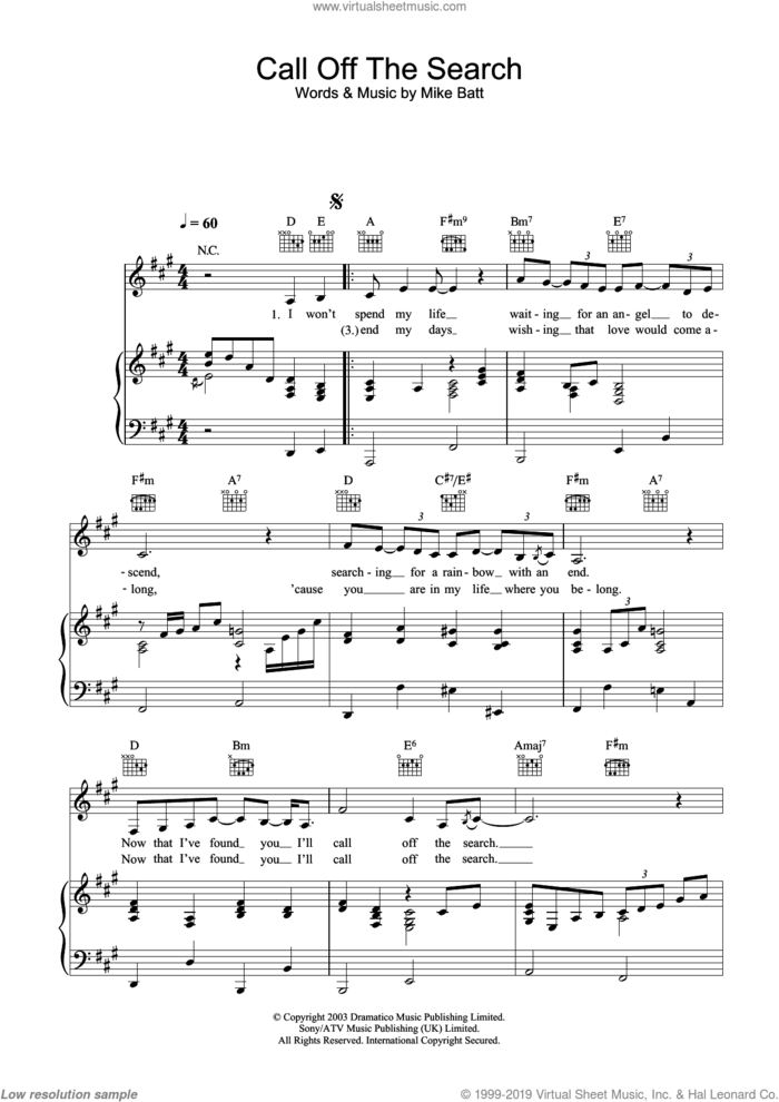 Call Off The Search sheet music for voice, piano or guitar by Katie Melua and Mike Batt, intermediate skill level